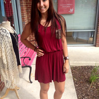 Sparkling On Gameday Dress - Garnet