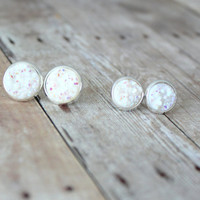 O P A L  - White Iridescent Chunky Sparkle, Faux Druzy, Silver Plated Stud Earrings, 10mm or 12mm