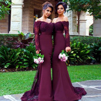 Mermaid Bridesmaid Dresses Off The Shoulder Appliques Satin Burgundy Purple Backless Long Sleeves Bridesmaid Gowns BZ06
