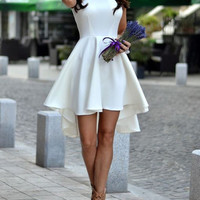 Flare Hem White Dress Homecoming Prom Dress