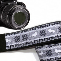 Leo Camera Strap. Ethnic Camera Strap, White Black Gray Camera Strap. Accessories