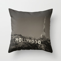 Vintage Hollywood sign Throw Pillow by Claude Gariepy