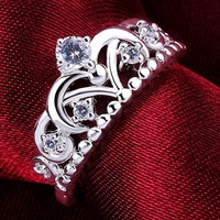 Jewelry Womens 925 Sterling Silver Plated Cubic Zirconia CZ Princess Crown Tiara Ring Wedding Band