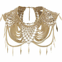 Gold tone chainmail embellished cape