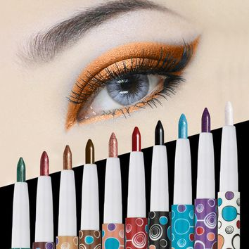 HUAMIANLI 10Pcs Waterproof  Pencil Set Matte Glitter Eye Shadow Stick Pen  Long Lasting Shimmer Makeup Eye Liner Pen