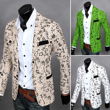 Korean suit jacket for men dress Printing floral color Fashion young male hairdresser mens slim fit blazer Nightclub clothing