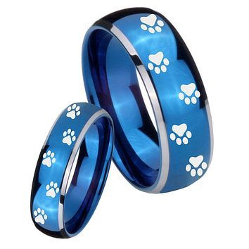 His Her Glossy Blue Dome Paw Print Design Two Tone Tungsten Wedding Rings Set
