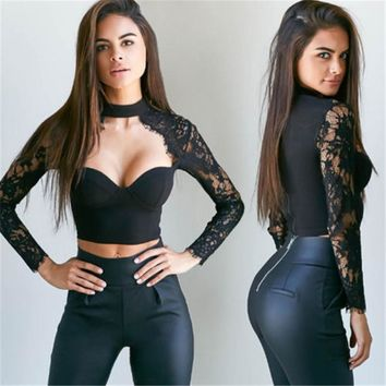 Women Sexy Lace Patchwork Tops Long Sleeve Push Up Padded Bra Sexy Crop Tops Ladies Lace Shirt Tops Slim Tops Fashion