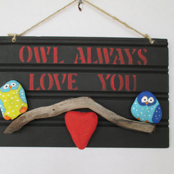 Stone decor, Owl Decor, Handmade Sign, Love Sign, Owl Love Sign, Home decor, Painted stone decor, bedroom decor, kids bedroom decor