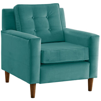 Winston Velvet Accent Chair, Teal, Club Chairs