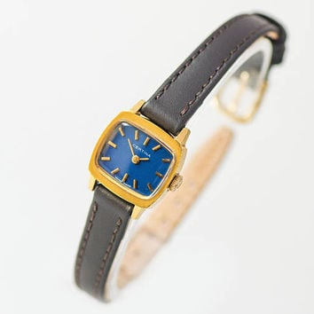 Vintage Certina women's watch, gold plated lady watch navy face, rectangle lady watch, minimalist watch shockproof new genuine leather strap