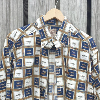 Vtg Mens WOOLRICH Fish Rainbow Trout Button Down Shirt - SZ L - EXCELLENT!