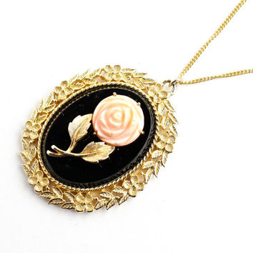 Vintage Rose Mirror Necklace - 1960s Gold Tone Chain With Large Flower Pendant - Pink Flower Filigree