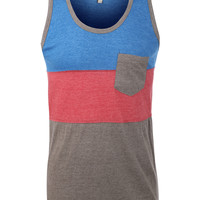 LE3NO Mens Premium Casual Crewneck Pocket Tank Top (CLEARANCE)