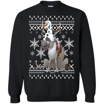 Frozen Sven Riding Antlers Ugly Sweater