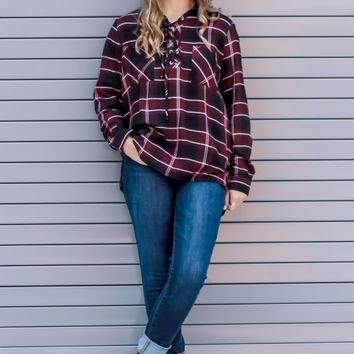 Wine With Me Lace Up Plaid Top