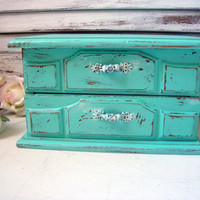 Aqua Vintage Musical Jewelry Box, Small Wooden Jewelry Holder, Beach Cottage Jewelry Box, Shabby Chic, Up Cycled Painted Jewelry Chest