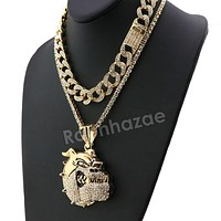 Hip Hop Iced Out Quavo BULLDOG Miami Cuban Choker Chain Tennis Necklace L04