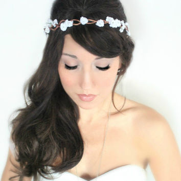 Tiny Rustic Flower Crown, woodland wedding, bridal accessories, wedding hair, tiara, white,flower halo- JANELLE - by DeLoop