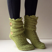 Women's Crochet Kiwi Green Slipper Boots, Crochet Slippers, Crochet Booties, Crochet House Shoes, Crochet Winter Boots, Green Knit Slippers