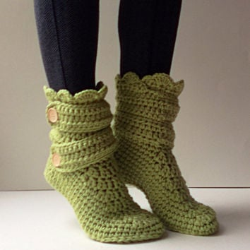 Women S Crochet Kiwi Green Slipper Boots Slippers Booties House Shoes