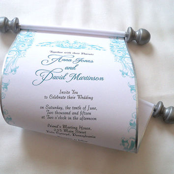 Scroll wedding invitation, nautical invitation, romantic rococo wedding, elegant damask scroll, silver wedding invitation scroll, set of 10