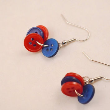 Handmade Red and Blue Dangle Button Earrings For Pierced Ears, Accessory For Women and Teens