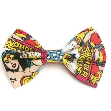 Wonder Woman Bow • DC Comics Bow • Girl Power Bow • Geekery Hair Bow • Comic Hair Bow • Comic Book Hair Bow • DC Comics • Comic con Gift
