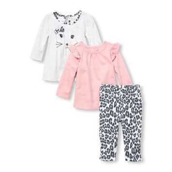 Baby Girls Glitter Cat Dress, Tunic and Leopard Leggings 3-Piece Playwear Set