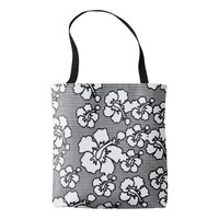 Orchid flowers checker black & white original art tote bag