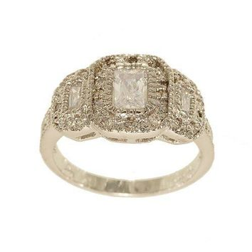 Unbelieveably Fine Silvertone Three Stone Emerald Cut Fashion Ring with Frames Covered in Flush Mounted Clear Cubic Zirconia