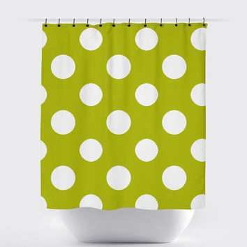 Mustard Polka Dot Shower Curtain