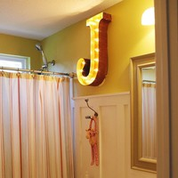 """24"""" Letter J Lighted Vintage Marquee Letters (Rustic)"""