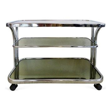 Pre-owned Mid-Century Modern Rolling Chrome Bar Cart