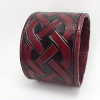 Celtic Knot Wrist Cuff Leather Bracer Red and Black dyed 8 oz. Leather Bracelet