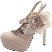 Women's Qupid Miriam-42 Nude Suede Mary Jane Platform Pumps Shoes, Nude SV, 7.5