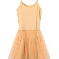 Apricot Spaghetti Strap Sheer Mesh Dress