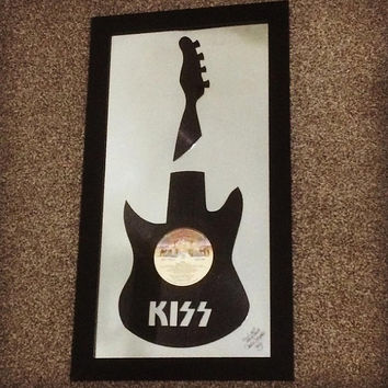 KISS, Santana, Ringo Starr, Def Leppard, Poison -Framed Recycled Vinyl Record Guitar - Home Decor - Birthday/Christmas Gifts - FREE Shipping