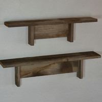 Shelves set of 2 from recycled wood great patina 20 and 23 wide 4 deep