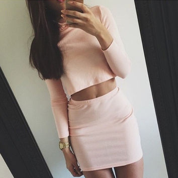 Solid Color Knit Long Sleeve Leaky belly button Top Sweater Skirt Set Two-Piece