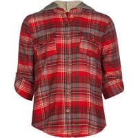Mimi Chica Plaid Girls Hooded Flannel Shirt Red Combo  In Sizes