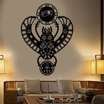 Vinyl Wall Decal Ancient Egypt Egyptian Scarab Beetle Eye of Horus Stickers Unique Gift (1870ig)