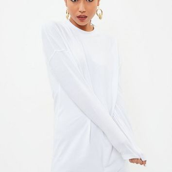 Missguided - White Long Sleeve Plain T Shirt Dress