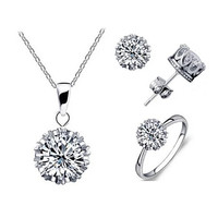 Tiara Set Of 4 Necklace Pendant Ring And Stud Earrings In Silver Plated Crown Setting