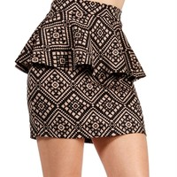 SALE-BlackTan Tribal Print Peplum Skirt