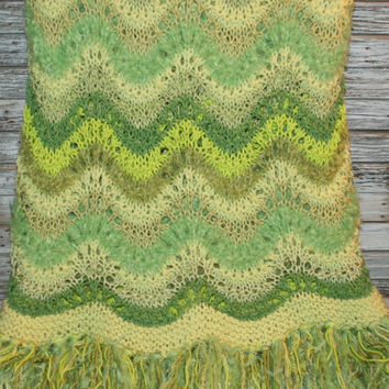 Handmade Blanket Knitted Afghan Throw Fringe Green Greenery Boho Bohemian Home Decor Spring Easter Mothers Day Gift Idea