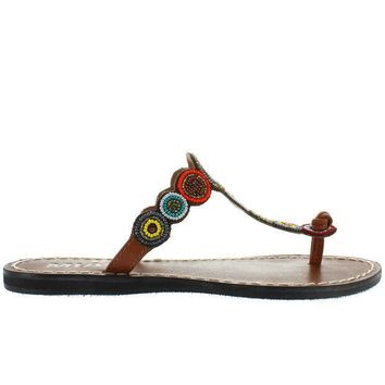 Mia Apache   Bright Multi Beaded/brown Leather Flat Thong Sandal