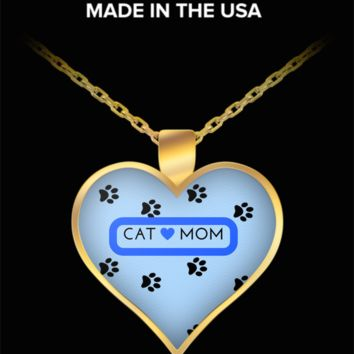 *Attention Cat Moms* Turn Your Jewelry into a piece of Purrrfect Cat Art! Hint: Purrfect Gifts for Cat Lovers Cat Mom Heart Necklace Blue