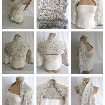 Hand knitted crocheted white gray pink bolero shrug