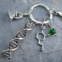 Personalized Scientist Keychain, DNA Double Helix Zipper Pull, Geek Techie Science Accessory, Chemist Keychain Lanyard, Lab Gift